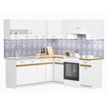 JUNO WHITE 200x200cm L alakú konyhablokk Fehér / Arany craft tölgy