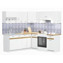 JUNO WHITE 200x200cm L alakú konyhablokk Fehér / Arany craft tölgy Balos