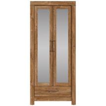 Gent magas, zárt könyvespolc tükrös ajtóval, egy fiókkal stirlingtölgy színben