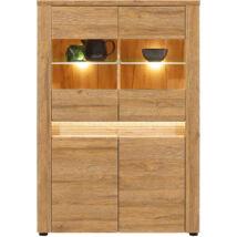 SANDY tálalószekrény 2 üvegezett és 2 normál ajtóval, beépített dísz- és belső világítással