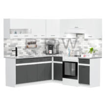 JUNO WHITE GRAFIT 200x200cm L alakú konyhablokk Fehér / Grafit Balos