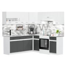 JUNO WHITE GRAFIT 200x200 cm L alakú konyhablokk fehér / grafit balos