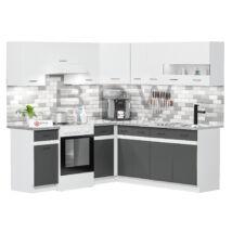 JUNO WHITE GRAFIT 200x200 cm L alakú konyhablokk fehér / grafit jobbos