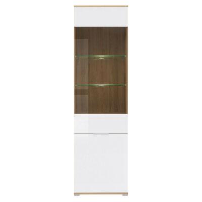 Zele vitrin 1 üvegezett és 1 normál ajtóval, 56 cm