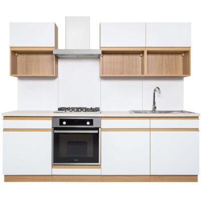 SEMI LINE II Fényes fehér 240cm-es konyhablokk