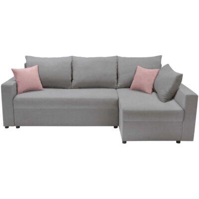 PRZEMEK Sarok kanapé Szürke – pink
