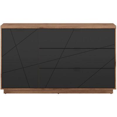 FORN komód fekete – delano tölgy 1 ajtóval és 3 fiókkal