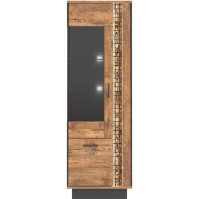 DORIAN vitrin 1 üvegezett és 1 normál ajtóval, LED-es díszvilágítással