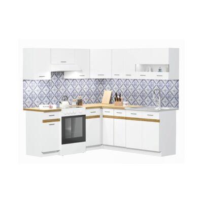 JUNO WHITE 200x200cm L alakú konyhablokk Fehér / Arany craft tölgy Jobbos