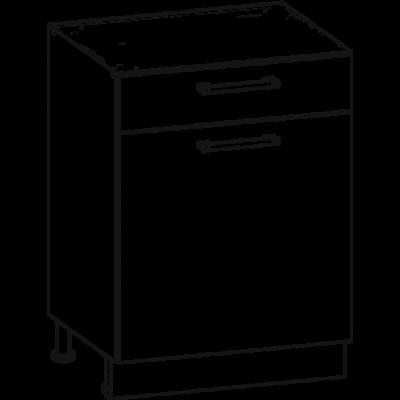 Rio 60cm alsó fiókos/polcos szekrény  Matt sanremo tölgy/fehér