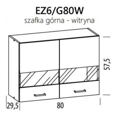 JUNO  ELENA felső vitrines szekrény 80cm